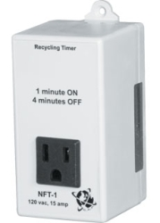 Non-Adjustable Timer, Factory Settings, 1 Min On/4 Min Off, 15 Amp@120vac