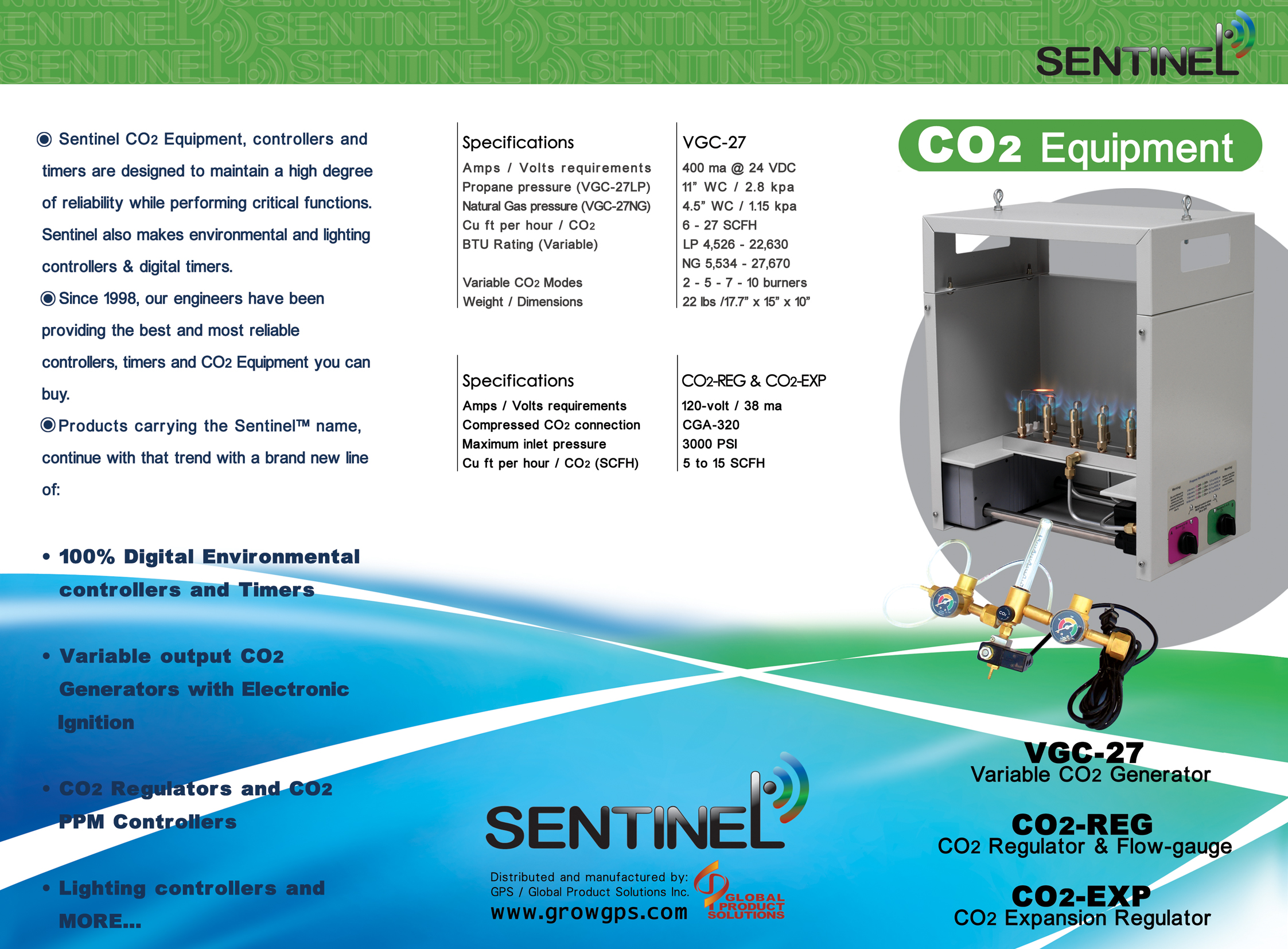 Sentinel CO2 Generator Natural Gas (NG) 3000-6000 BTU