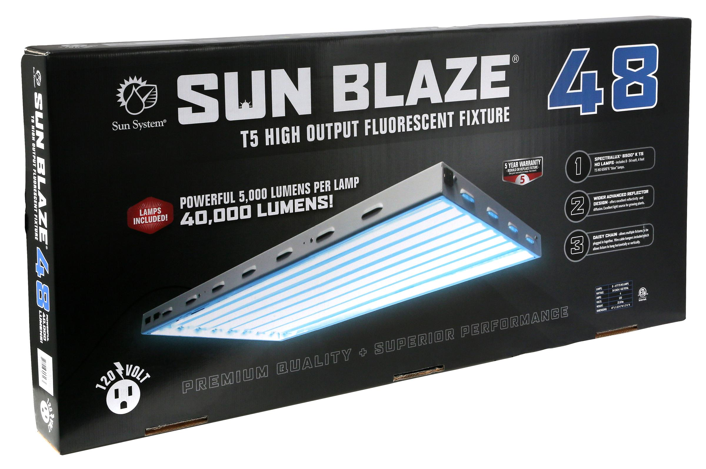 Sun Blaze 48 4 Foot 8 Lamp T5 Fluorescent System 120 Volt Wiring Light Fixtures In Series Multiple Image