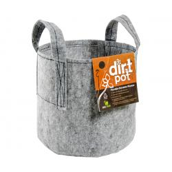 Dirt Pot Flexible Portable Planter, Grey, 15 gal, with handles