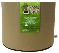 "Tan Smart Pot - 5 Gallon 12"" Wide x 9.5"" Tall"