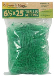 "Grower's Edge Green Trellis Netting 6.5 x 25 Foot 6"" Holes"