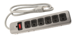 Indoor Metal Surge Strip 6 Outlet 125 Volt 4ft Cord 14 Gauge 15 Amp