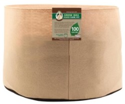 Gro Pro Premium 100 Gallon Round Fabric Pot-Tan