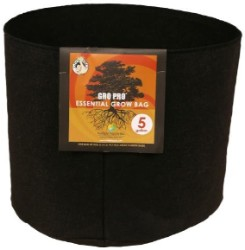 Gro Pro Essential Round Fabric Pot - Black 5 Gallon (90/Cs)