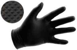 Black Powder Free Textured Nitrile Gloves 6 mil - Medium Box of 100