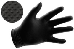 Black Powder Free Textured Nitrile Gloves 6 mil - Large Box of 100