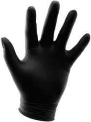 Black Powder Free Textured Nitrile Gloves 6 mil - Small Box of 100