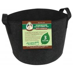 Gro Pro Premium Round Fabric Pot w/ Handles 3 Gallon - Black