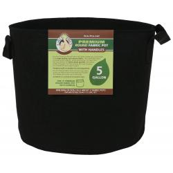 Gro Pro Premium Round Fabric Pot w/ Handles 5 Gallon - Black