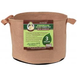 Gro Pro Premium Round Fabric Pot w/ Handles 3 Gallon - Tan