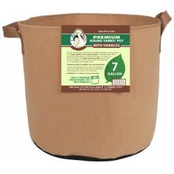 Gro Pro Premium Round Fabric Pot w/ Handles 7 Gallon - Tan