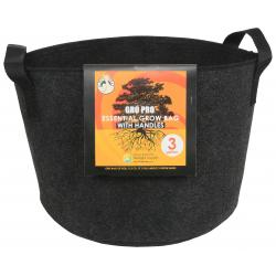 Gro Pro Essential Round Fabric Pot w/ Handles 3 Gallon - Black