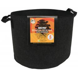 Gro Pro Essential Round Fabric Pot w/ Handles 5 Gallon - Black (90/Cs)
