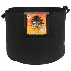 Gro Pro Essential Round Fabric Pot w/ Handles 10 Gallon - Black (60/Cs)