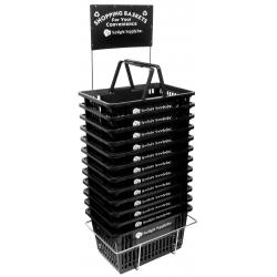 Sunlight Supply Plastic Shopping Basket w/ Stand Set of 12