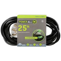 120 Volt 25 ft Extension Cord 3 Outlet w/ Green Indicator - 14 Gauge