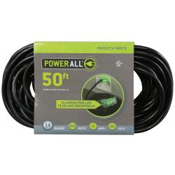120 Volt 50 ft Extension Cord 3 Outlet w/ Green Indicator - 14 Gauge