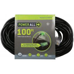 120 Volt 100 ft Extension Cord 3 Outlet w/ Green Indicator - 14 Gauge