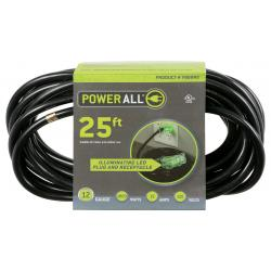 120 Volt 25 ft Extension Cord 3 Outlet w/ Green Indicator - 12 Gauge