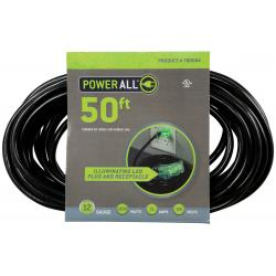 120 Volt 50 ft Extension Cord 3 Outlet w/ Green Indicator - 12 Gauge