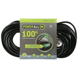 120 Volt 100 ft Extension Cord 3 Outlet w/ Green Indicator - 12 Gauge