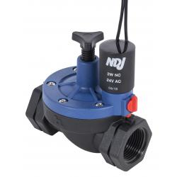 Jain Irrigation NDJ Plastic Solenoid Valve 24V - 1 in Threaded w/ Flow Control