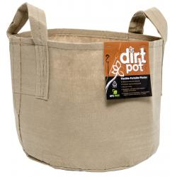 Dirt Pot Flexible Portable Planter, Tan, 25 gal, with handles
